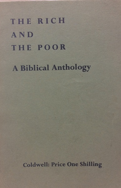 Image for The Rich and the Poor - A Biblical Anthology compiled from the Douay version